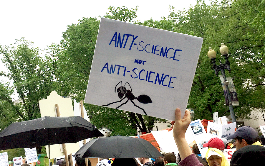 """Anty-science"" sign at 2017 March for Science"